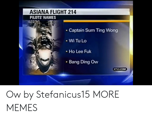 Dank, Memes, and Target: ASIANA FLIGHT 214  PILOTS' NAMES  Captain Sum Ting Wong  .WiTuLo  Ho Lee Fuk  Bang Ding Ow Ow by Stefanicus15 MORE MEMES
