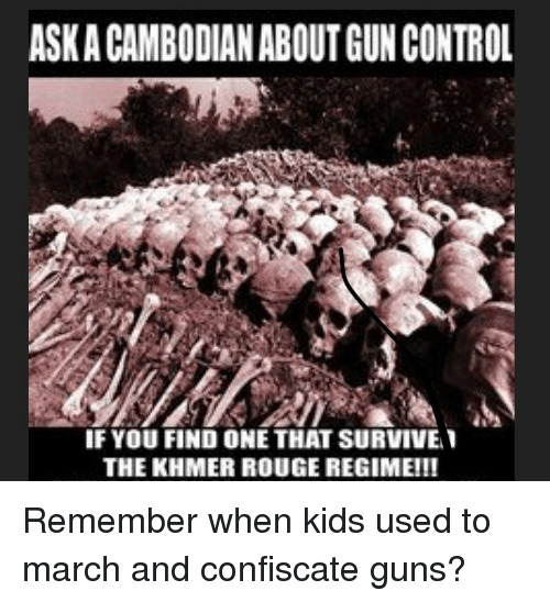 Guns, Control, and Kids: ASK A CAMBODIAN ABOUT GUN CONTROL  IF YOU FIND ONE THAT SURVIVE  THE KHMER ROUGE REGIME!!!