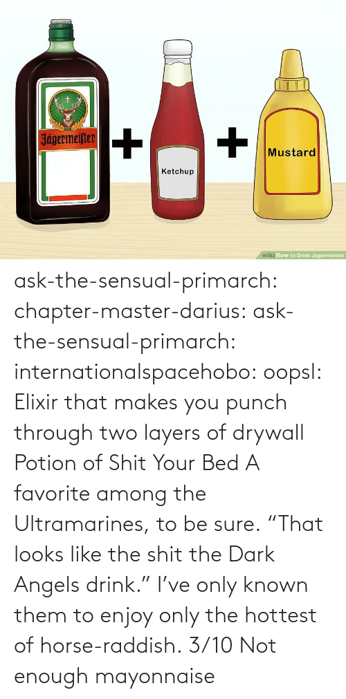 "Tumblr, Angels, and Blog: ask-the-sensual-primarch:  chapter-master-darius: ask-the-sensual-primarch:   internationalspacehobo:  oopsl: Elixir that makes you punch through two layers of drywall   Potion of Shit Your Bed  A favorite among the Ultramarines, to be sure.    ""That looks like the shit the Dark Angels drink.""  I've only known them to enjoy only the hottest of horse-raddish.   3/10 Not enough mayonnaise"