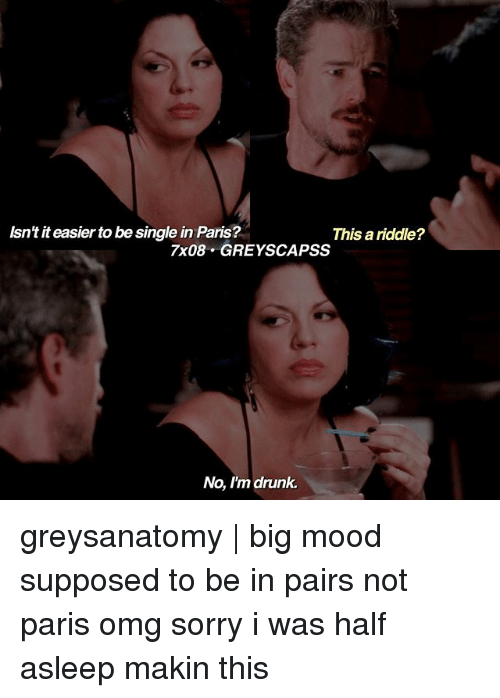 Drunk, Memes, and Mood: Asn'titeasier to be single in Paris?  This a riddle?  7x08. GREY SCAPSS  No, I'm drunk. greysanatomy | big mood ― supposed to be in pairs not paris omg sorry i was half asleep makin this