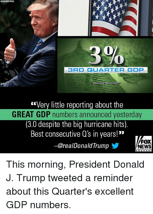 "Memes, News, and Best: ASSOCIATED PHESS  0  3RD QUARTER GDP  Very little reporting about the  GREAT GDP numbers announced yesterday  (3.0 despite the big hurricane hits)  Best consecutive Q's in years!""  FOX  NEWS  ー@re a l Donald Irump This morning, President Donald J. Trump tweeted a reminder about this Quarter's excellent GDP numbers."