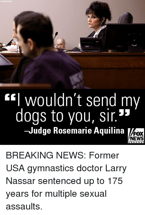 """Doctor, Dogs, and Memes: ASSOCIATED  wouldn t send my  dogs to you, sir.""""  Judge Rosemarie Aquilina  FOX  NEWS  h a BREAKING NEWS: Former USA gymnastics doctor Larry Nassar sentenced up to 175 years for multiple sexual assaults."""