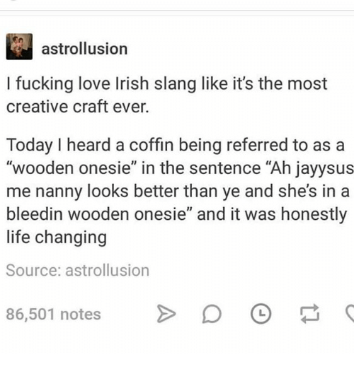 "Fucking, Irish, and Ironic: astrollusion  l fucking love Irish slang like it's the most  creative craft ever.  Today I heard a coffin being referred to as a  ""wooden onesie"" in the sentence ""Ah jayysus  me nanny looks better than ye and she's in a  bleedin wooden onesie"" and it was honestly  life changing  Source: astrollusion  86,501 notes >D"