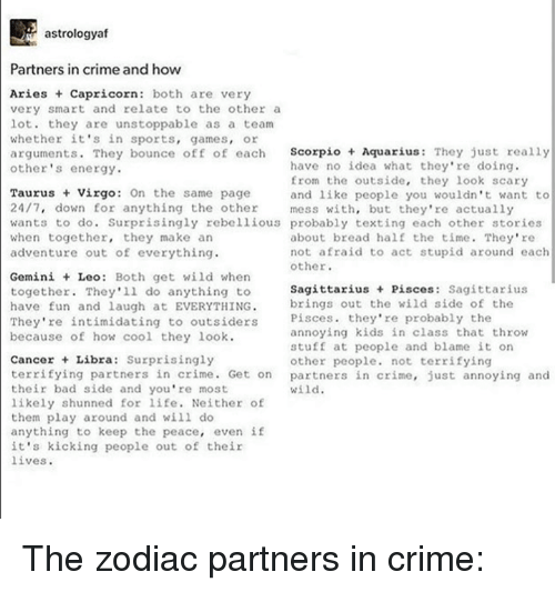Astrologyaf Partners in Crime and How Aries Capricorn Both Are Very