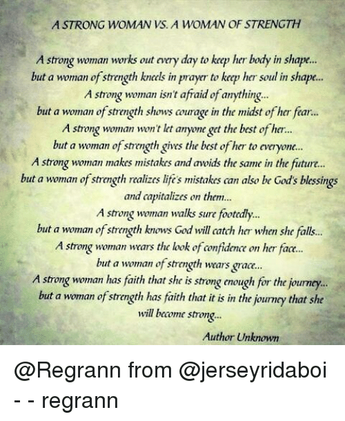 Astrong Woman Vs A Woman Of Strength A Strong Woman Works Out Nery