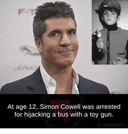 Memes, Simon Cowell, and 🤖: At age 12, Simon Cowell was arrested  for hijacking a bus with a toy gun.  fb.com factsweird