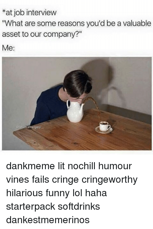 """Job Interview, Memes, and Vine: *at job interview  """"What are some reasons you'd be a valuable  asset to our company?""""  Me:  tahum Strange/ dankmeme lit nochill humour vines fails cringe cringeworthy hilarious funny lol haha starterpack softdrinks dankestmemerinos"""
