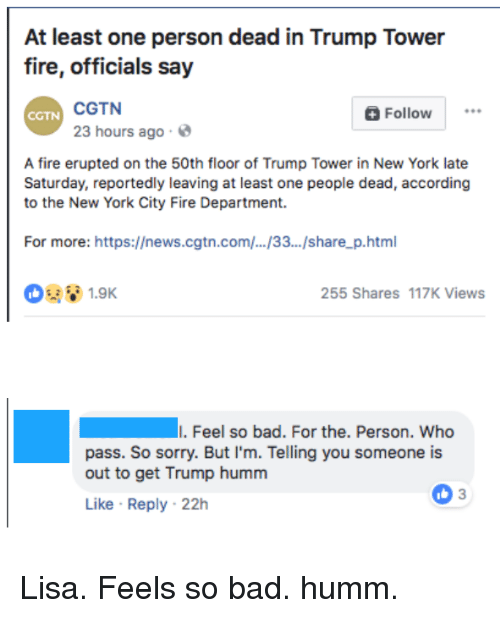 At Least One Person Dead In Trump Tower Fire Officials Say Cgtn 23