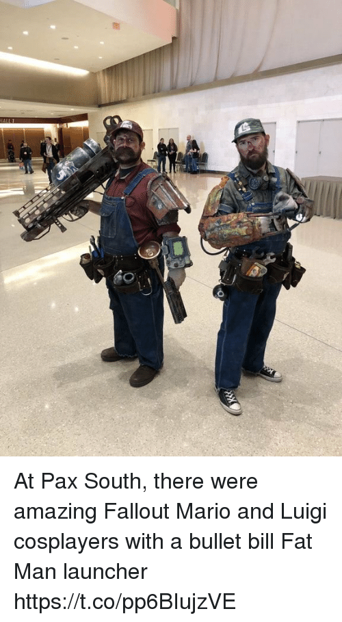 Mario, Fallout, and Amazing: At Pax South, there were amazing Fallout Mario and Luigi cosplayers with a bullet bill Fat Man launcher https://t.co/pp6BIujzVE