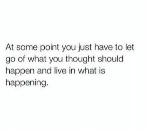Live, What Is, and Thought: At some point you just have to let  go of what you thought should  happen and live in what is  happening.