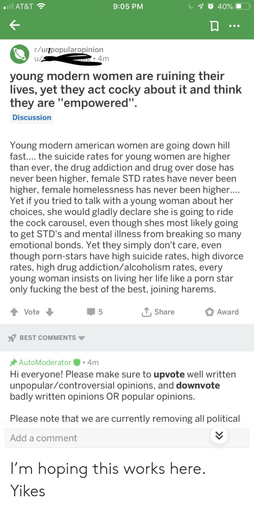 At&T 905 PM Rurpopularopinion Young Modern Women Are Ruining