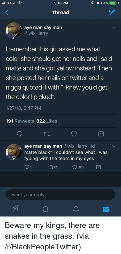 "Blackpeopletwitter, Twitter, and At&t: AT&T  9:16 PM  Thread  aye man say man  @wb larry  I remember this girl asked me what  color she should get her nails andI said  matte and she got yellow instead. Then  she posted her nails on twitter and a  nigga quoted it with ""I knew vou'd get  the color I picked""  1/27/18, 5:47 PM  191 Retweets 822 Likes  aye man say man @wb_larry. 1d  matte black* I couldn't see what I was  ytyping with the tears in my eyes  ロ69  381  Tweet your reply <p>Beware my kings, there are snakes in the grass. (via /r/BlackPeopleTwitter)</p>"