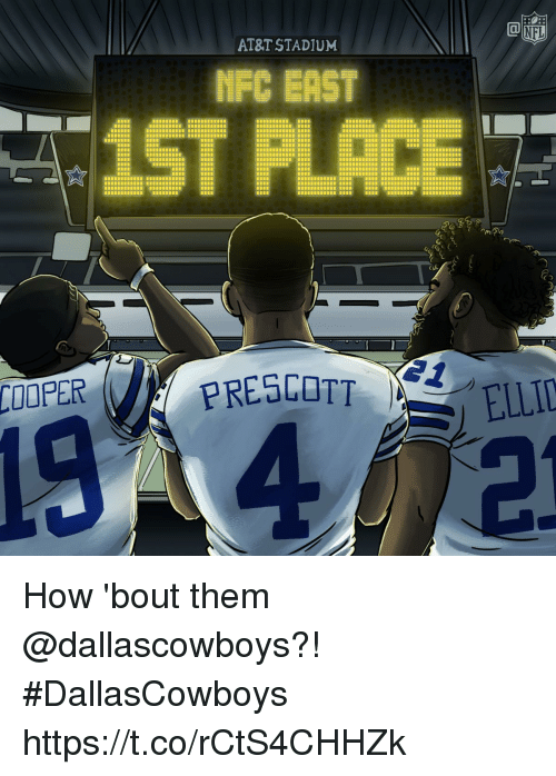 Memes, At&t, and 🤖: AT&T STADIUM  NEC BAST  COOPER  PRESCOTT How 'bout them @dallascowboys?!  #DallasCowboys https://t.co/rCtS4CHHZk