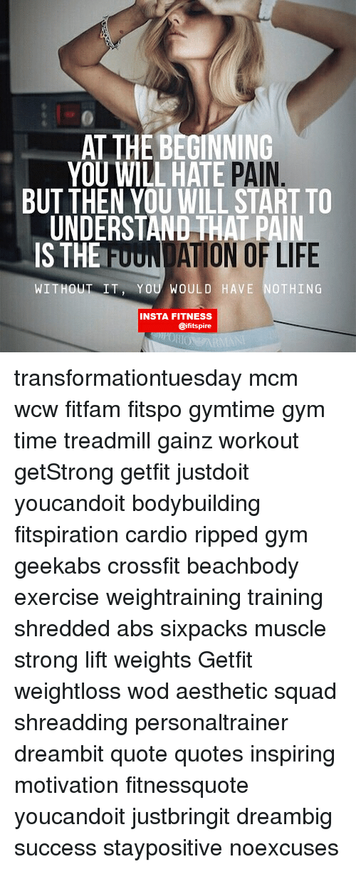Gym, Life, And Memes: AT THE BEGINNING YOU WILL HATE PAIN BUT THEN