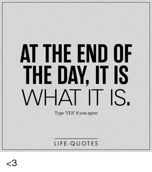 At The End Of The Day It Is What It Is Type Yes If You Agree Life