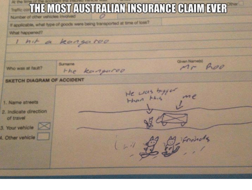 At the THE MOST AUSTRALIAN INSURANCE CLAIM EVER Number of ...