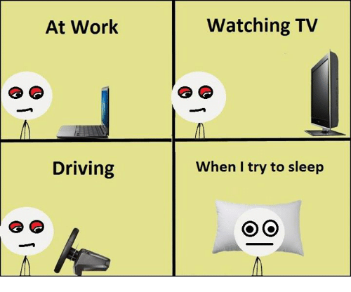 Driving, Work, and Sleep: At Work  Driving  Watching TV  When I try to sleep  On (O