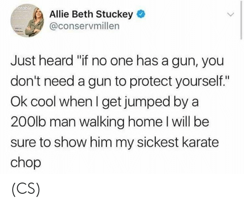 "Memes, Cool, and Home: atable  Allie Beth Stuckey  @conservmillen  Just heard ""if no one has a gun, you  don't need a gun to protect yourself.""  Ok cool when I get jumped by a  200lb man walking home l will be  sure to show him my sickest karate  chop (CS)"