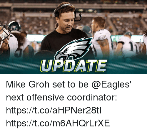 Philadelphia Eagles, Memes, and 🤖: ATE Mike Groh set to be @Eagles' next offensive coordinator: https://t.co/aHPNer28tI https://t.co/m6AHQrLrXE