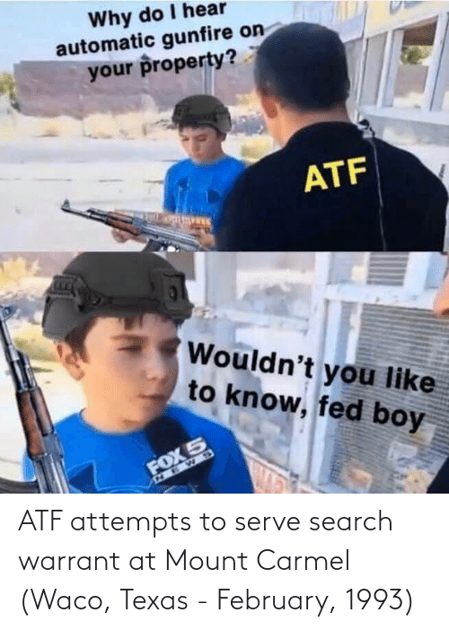 Atf Attempts To Serve Search Warrant At Mount Carmel Waco Texas