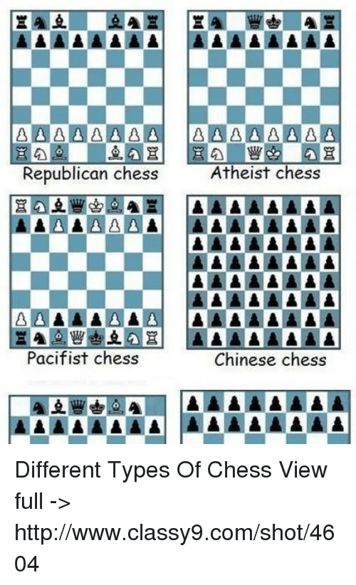 Memes, Chess, and Chinese: Atheist Chess  Republican chess  Pacifist chess  Chinese chess  AAAAAAAA AAAAAAAA Different Types Of Chess View full ->  http://www.classy9.com/shot/4604