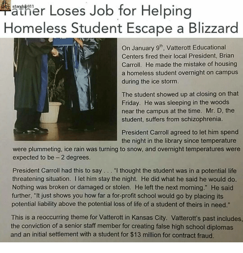 Ather Loses Job For Helping Homeless Student Escape A Blizzard On