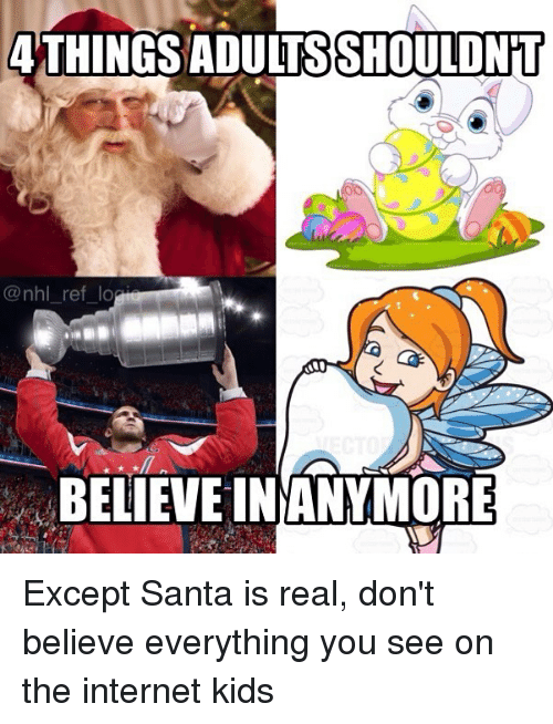 Internet, Memes, and National Hockey League (NHL): ATHINGS ADULTSSHOULDNET  @nhl_ref_lo  BELIEVE INANYMORE Except Santa is real, don't believe everything you see on the internet kids