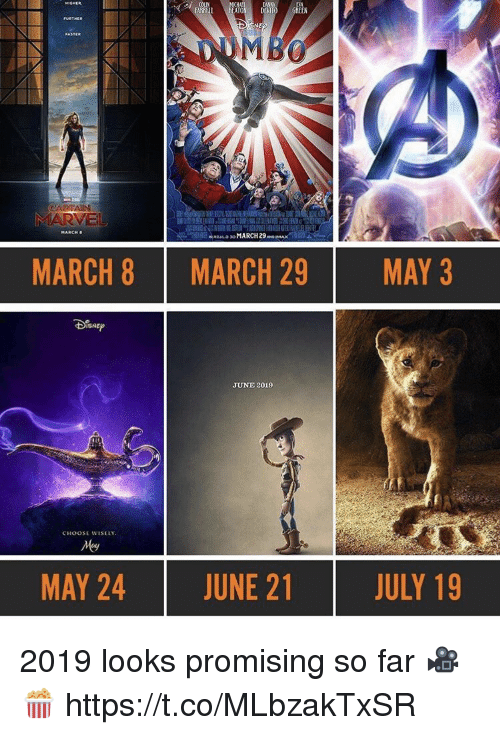 Green, May, and March: ATO DEVITO GREEN  MARCH  MARCH 8  MARCH 29  MAY 3  JUNE 2019  CHOOSE WISELY  MAY 24  JUNE 21  JULY 19 2019 looks promising so far 🎥🍿 https://t.co/MLbzakTxSR