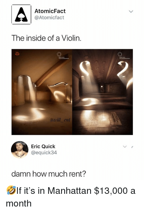 Memes, Manhattan, and 🤖: AtomicFact  @Atomicfact  The inside of a Violin.  awill_ent  Eric Quick  @equick34  damn how much rent? 🤣If it's in Manhattan $13,000 a month