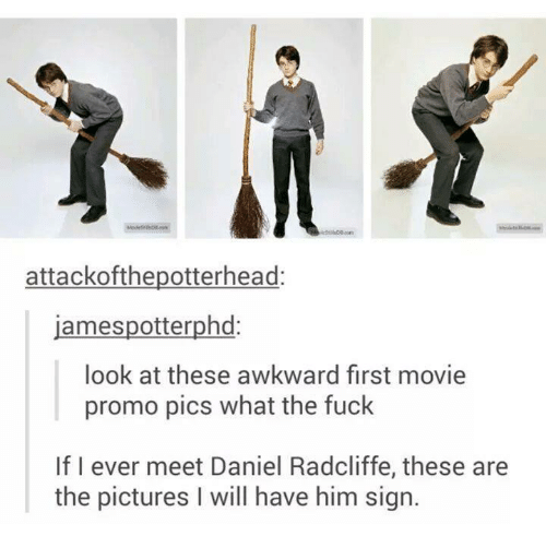 Daniel Radcliffe, Fucking, and Funny: attackofthepotterhead  spotterphd  james look at these awkward first movie  promo pics what the fuck  If I ever meet Daniel Radcliffe, these are  the pictures l will have him sign.