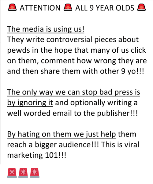 ATTENTION ALL 9 YEAR OLDS the Media Is Using Us! They Write