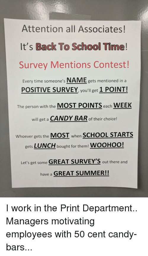 attention all associates it s back to school time survey mentions