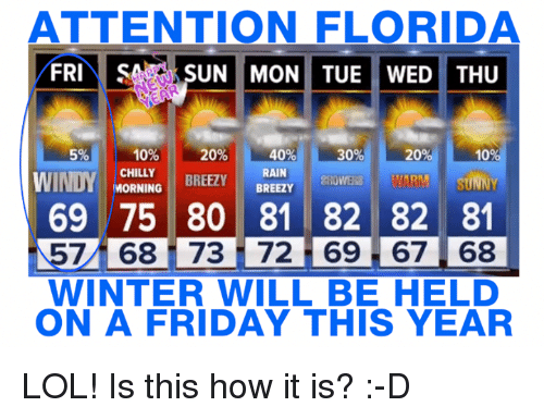 Memes, Chillis, and Florida: ATTENTION FLORIDA  FRI  SA SUN MON TUE WED THU  10%  40%  20%  30%  20  10  CHILLY  RAIN  BREEZY  MORNING  BREEZY  WINDY  WARM SUNNY  ZROWERS 69 75 80 81 82 82 81  7 68 i 73 72 69 67 68  WINTER WILL BE HELD  ON A FRIDAY THIS YEAR LOL! Is this how it is? :-D
