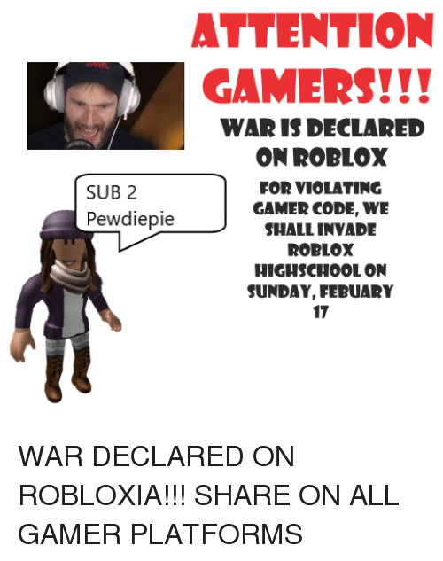 Attention Gamers War Is Declared On Roblox For Violating Gamer