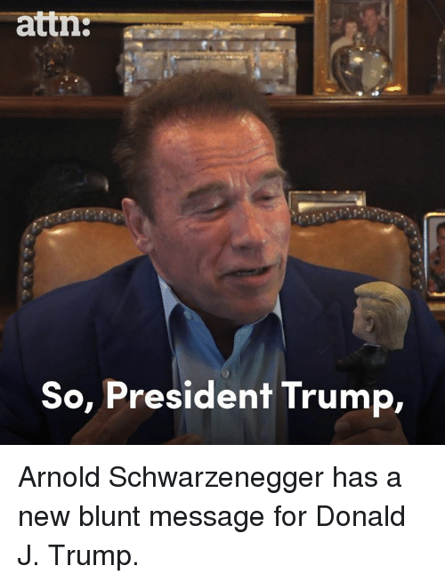 Arnold Schwarzenegger, Memes, and Trump: attn:--  So, President Trump, Arnold Schwarzenegger has a new blunt message for Donald J. Trump.