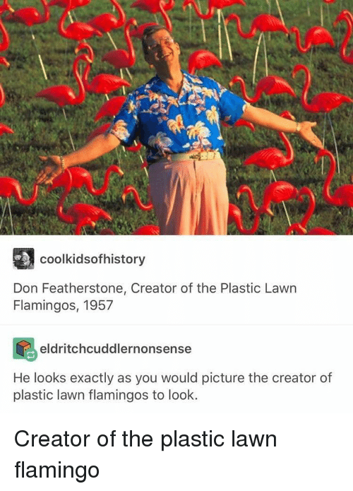 Plastic, Creator, and Flamingo: AU  coolkidsofhistory  Don Featherstone, Creator of the Plastic Lawn  Flamingos, 1957  eldritchcuddlernonsense  He looks exactly as you would picture the creator of  plastic lawn flamingos to look. <p>Creator of the plastic lawn flamingo</p>