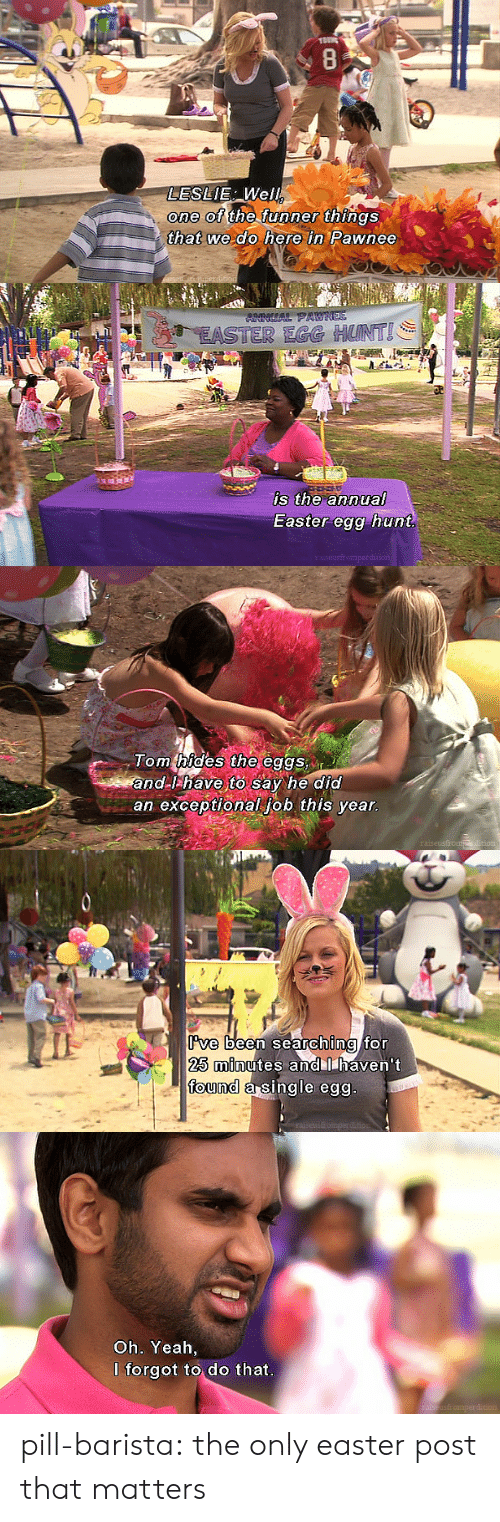 Easter, Tumblr, and Yeah: AU  LESLIE Well  one of the funner  thAOs  that we do here in Pawnee   EASTER ERG HUNTI  is the annual  Easter egg hunt   Tom thides the eggs n  and I have to say he did  an exceptional iob this vear  raise   ve  25 minutes andllhaven't  ound a Sinale eo  been searchina for   Oh. Yeah,  I forgot to do that  mperda pill-barista: the only easter post that matters