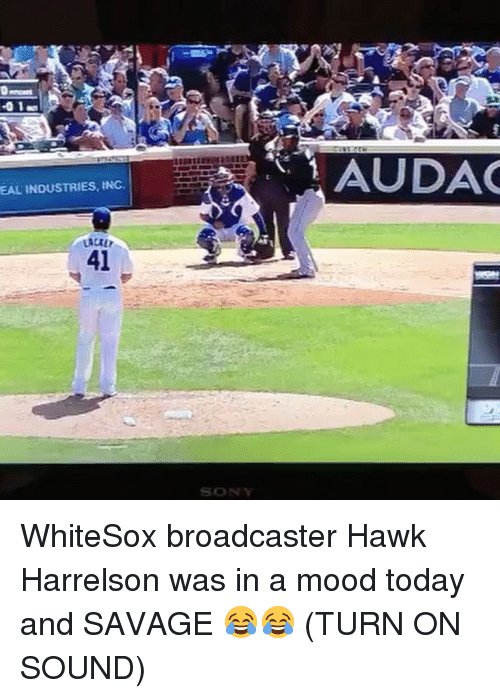 Mlb, Mood, and Savage: AUDAC  EAL INDUSTRIES, INC.  41  SONY WhiteSox broadcaster Hawk Harrelson was in a mood today and SAVAGE 😂😂 (TURN ON SOUND)