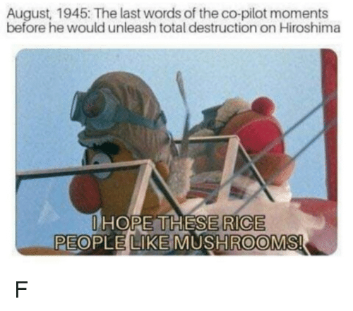 Hope, Last Words, and Rice: August, 1945: The last words of the co-pilot moments  before he would unleash total destruction on Hiroshima  HOPE THESE  RICE  PEOPLE LIKE MUSHROOMS