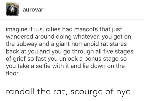 Selfie, Subway, and Giant: aurovar  imagine if u.s. cities had mascots that just  wandered around doing whatever. you get on  the subway and a giant humanoid rat stares  back at you and you go through all five stages  of grief so fast you unlock a bonus stage so  you take a selfie with it and lie down on the  floor randall the rat, scourge of nyc