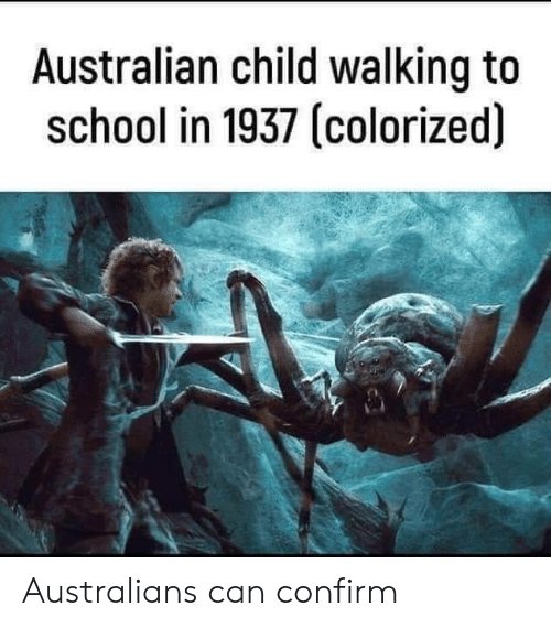 School, Australian, and Can: Australian child walking to  school in 1937 (colorized) Australians can confirm