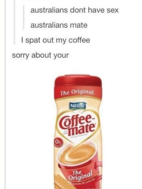 Sex, Sorry, and Coffee: australians dont have sex  australians mate  I spat out my coffee  sorry about your  The Originat  es  Offee  mate  0g  oThainal
