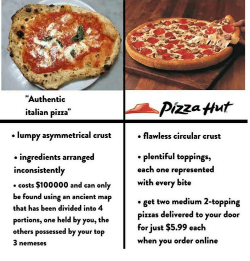 "Pizza, Pizza Hut, and Ancient: ""Authentic  italian pizza  Pizza Hut  lumpy asymmetrical crust  . flawless circular crust  . plentiful toppings,  each one represented  with every bite  ingredients arranged  inconsistently  costs $100000 and can only  be found using an ancient map  that has been divided into 4  portions, one held by you, the  others possessed by your top  3 nemeses  get two medium 2-topping  pizzas delivered to your door  for just $5.99 each  when you order online"