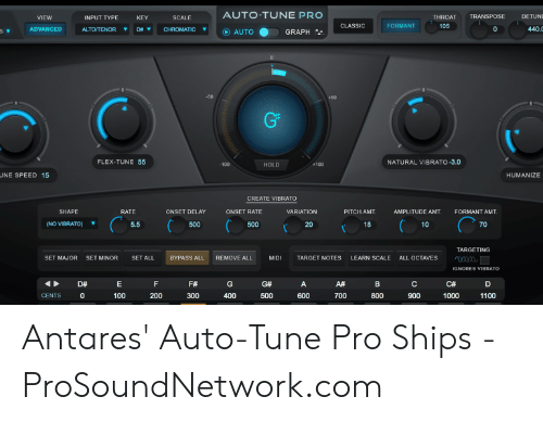 AUTO-TUNE PRO TRANSPOSE DETUNE THROAT VIEW INPUT TYPE KEY SCALE