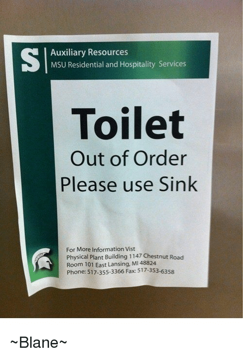 Auxiliary Resources MSU Residential and Hospitality Services Toilet ...