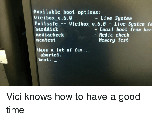 Available Boot Options Live System Vici Box V60 Failsafe Vic