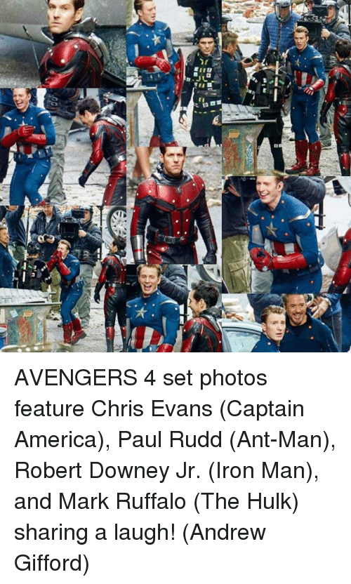 America, Chris Evans, and Iron Man: AVENGERS 4 set photos feature Chris Evans (Captain America), Paul Rudd (Ant-Man), Robert Downey Jr. (Iron Man), and Mark Ruffalo (The Hulk) sharing a laugh!  (Andrew Gifford)