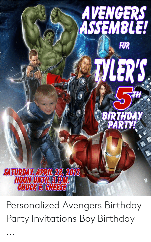 AVENGERS ASSEMBLE FOR TYLERS TH BIRTHDAY PARTY SATURDAY APRIL 28