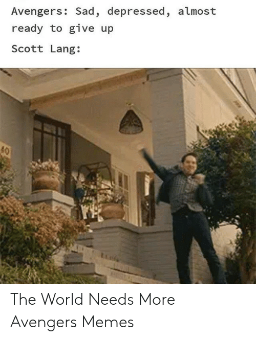Memes, Avengers, and World: Avengers: Sad, depressed, almost  ready to give up  Scott Lang:  40 The World Needs More Avengers Memes