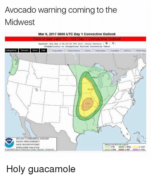 Funny, Meme, and Avocado: Avocado warning coming to the  Midwest  Mar 6, 2017 0600 UTC Day 1 Convective Outlook  Click to see valid 1Z- 12ZDay 1 Convective Outlook  Updated: Mon Mar 6 05:59:08 UTC 2017 (Print Version I  Probabiliatio to Categorical Outlook Converaion Table  Categorical Tornado Wnd Hal Population owns OcwAs interstates counties ARTOc FEMAReg  D MRG  EHH  SPC DAY 1 CATEGORICAL OUTLOOK  ISSUED: 055920306/20  VALID: 061 2002-07/2002  Categorical outlook Legend:  2: SLGT  FORECASTER: DIAL/COOK  3: ENH  4 MDT  5: HIGH Holy guacamole